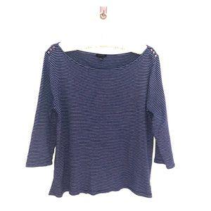 Ann Taylor Blue and white striped shirt